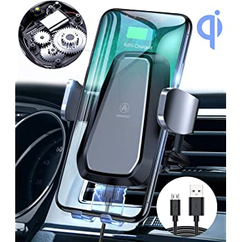 VANMASS Wireless Car Charger Mount, Auto Clamping Motorized Phone Holder, Qi Fast Charging Air Vent 10W for Samsung S10 S10+ S10e Note 9 S9 + S8 S7 S6