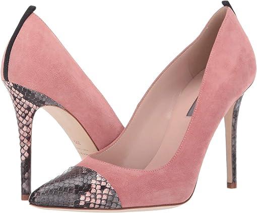 Pink Suede/Grey/Pink Snake Print