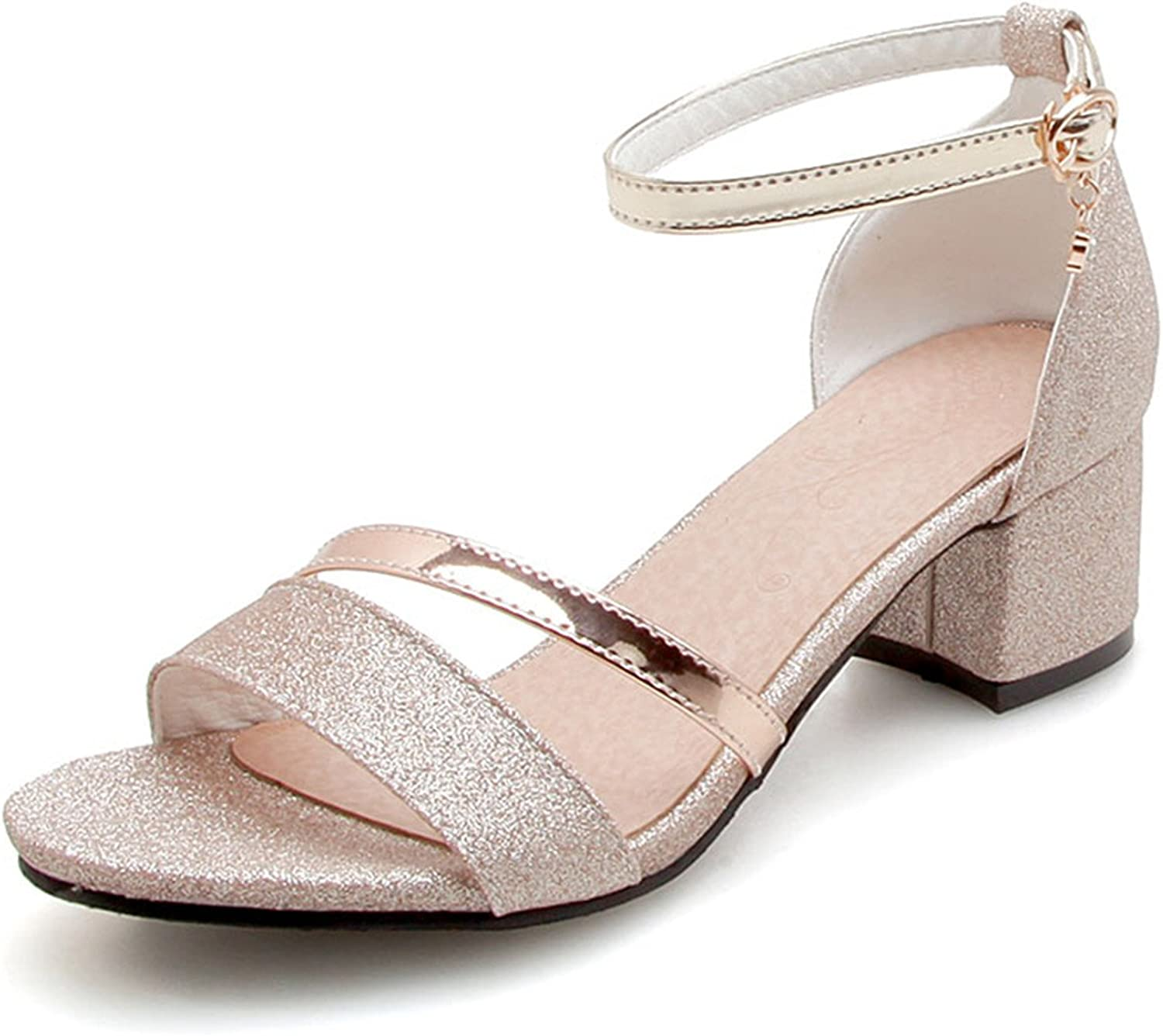 Thick Heel Sandals Women New Summer Comfortable Med Heels Open Toe Fashion shoes Woman Casual Sandals Size 31-50 B09