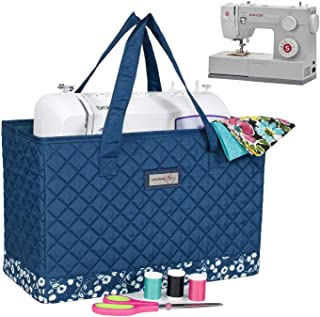 Everything Mary Deluxe Quilted Blue & Floral Sewing Machine Carrying Case - Sewing Machine Cover Case Tote Bag for Brother, Singer, Standard Size Machines - Sewing Bag with Handles for Travel