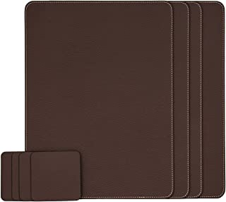Nikalaz Set of Recycled Leather Placemats and Coasters (Set of 4), Table Mats, Dining Table Set (40 x 30 cm, Brown)
