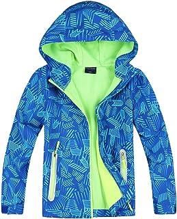 Jingle Bongala Boys Girls Rain Jacket Waterproof Coat Raincoat Hooded Light Windbreaker for Camping Hiking