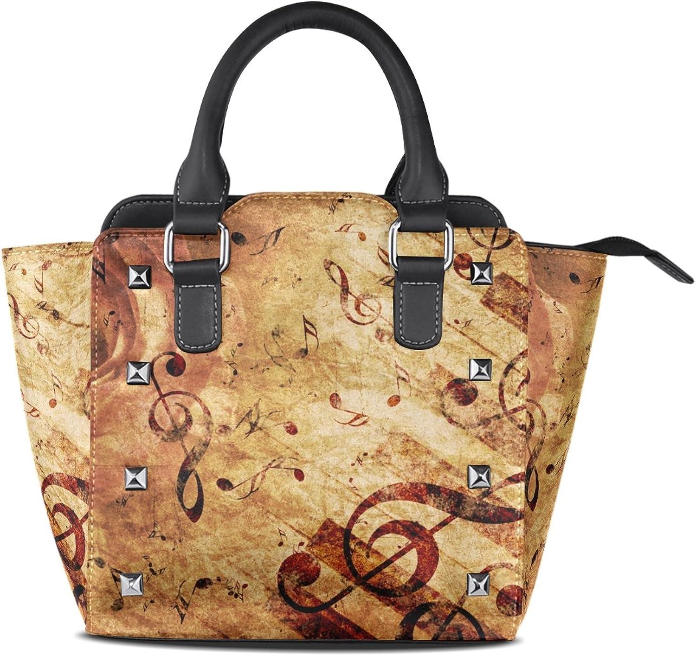 My Little Nest Women's Top Handle Satchel Handbag Vintage pink Music Note Ladies PU Leather Shoulder Bag Crossbody Bag