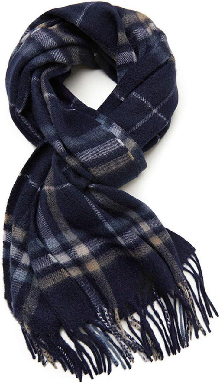 HLONGG Men's 100% Pure Cashmere Scarf Warm Winter Blanket Scarf Plaid Pattern Stripes Autumn and Winter Thickening Warm Tassel Cashmere Scarf,Blue