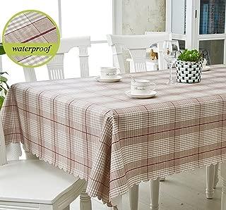 LWT ヨーロッパの格子縞のベビーの長方形のテーブルクロス、きれいな防水汚れにくいアンチ油プラスチックテーブルプロテクター138x210cmを拭く (Color : A)