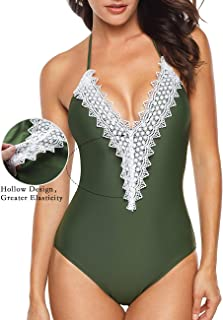 Aixy Women's Lace Halter Monokini Retro Crochet Deep Plunge Floral Backless One Piece Swimsuit Bathing Suit(FBA)