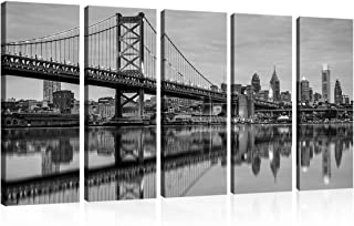 Wall Art Canvas Prints-Ben Franklin Bridge and Philadelphia Skyline Reflections on Water Image, Black and White New York City,Cityscape,Ready to Hang-12x32inchx5