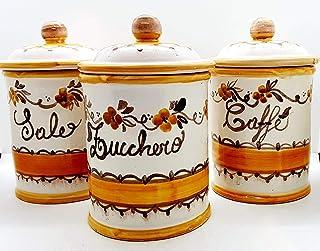 Set 3 Barattoli Sale Zucchero Caffé Linea Fiori Arancio Ceramica Le Ceramiche del Castello Handmade Pezzi Unici Made in Italy