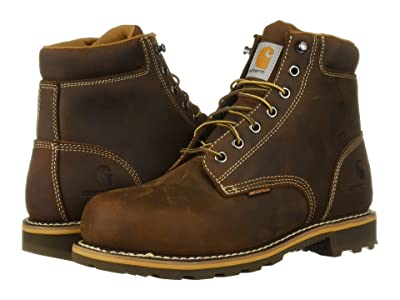 Carhartt 6 Plain Toe Waterproof Soft Toe Boot (Dark Bison Oil Tanned) Men