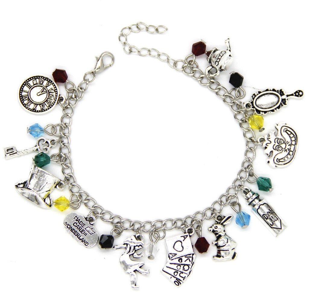 Alice in Wonderland Looking Glass Charm Bracelet with Presentation Gift Box Ladies Girls