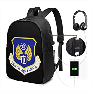 US Army 10th Air Force Laptop Backpack Bookbag College Funny Backpack Travel Backpack Men Women with USB Charging Port,17 Inch