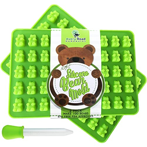 Premium Gummy Bear Mold - 2 PACK - BONUS DROPPER - 100 Bears on Trays +