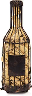Andaluca Wine Bottle Cork Holder | Rustic Wire Design | Blank Label for Decorating