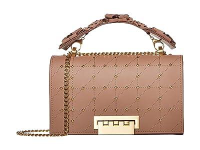 ZAC Zac Posen Earthette Chain Shoulder w/ Floral Feature Handle Solid (Mineral) Handbags