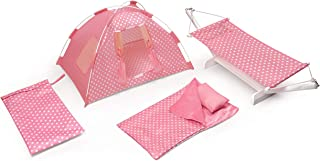 Badger Basket Doll Tent, Hammock, Sleeping Bag, and Pillow Go Camping Set (fits American Girl dolls), Pink/White
