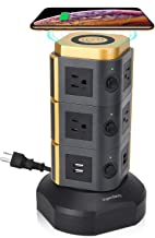 SUPERDANNY Surge Protector Tower with 10W Wireless Charger, Spin Power Strip Tower 3000W 13A Vertical Charging Station with 10AC Outlets+4USB Slots and 6.5ft Extension Cord for Home Office Garage