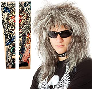 70s 80's Mens Rocker Wig + Tattoos Costume Set. Glam Hairband Rockstar Mullet Wig + Tattoo Sleeves Heavy Metal Wigs Brown