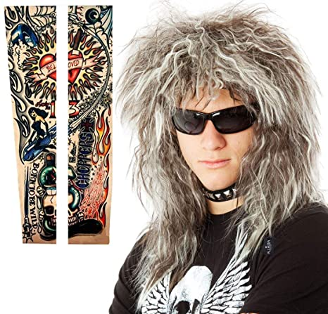 80s Men's Clothing   Shirts, Jeans, Jackets for Guys 70s 80's Mens Rocker Wig + Tattoos Costume Set. Glam Hairband Rockstar Mullet Wig + Tattoo Sleeves Heavy Metal Wigs  AT vintagedancer.com