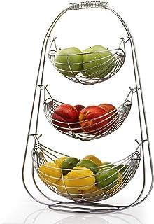NONMON Corbeille à Fruits, Porte Fruits 3 Etages Support de Hamac Métal Chromé, Paniers à Légumes de Grande Capacité, Stoc...