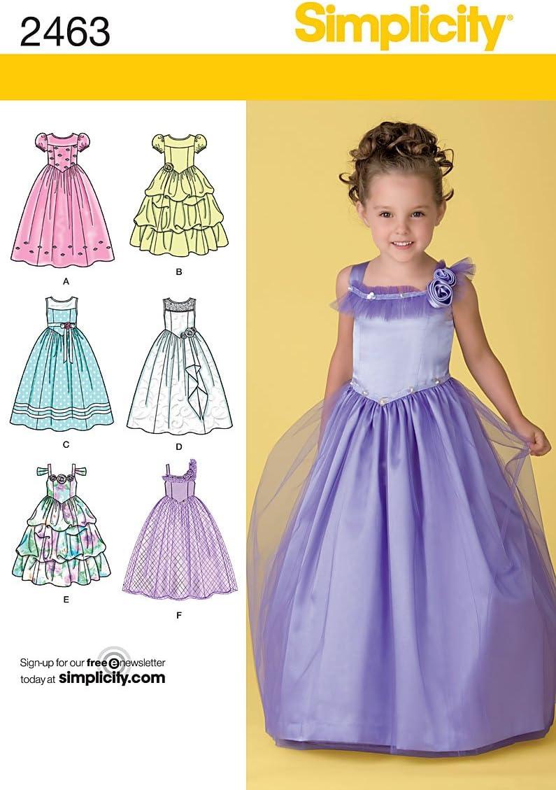 Plain or Ruffle Simplicity Pattern For Princess Dress