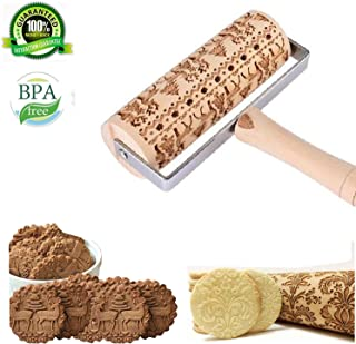 CATSAYS Christmas Embossed Wooden Rolling Pins with 3D Engraved Christmas Pattern Embossing Rolling Pin for Embossed Cookies Waffles Pastry Dough Pies