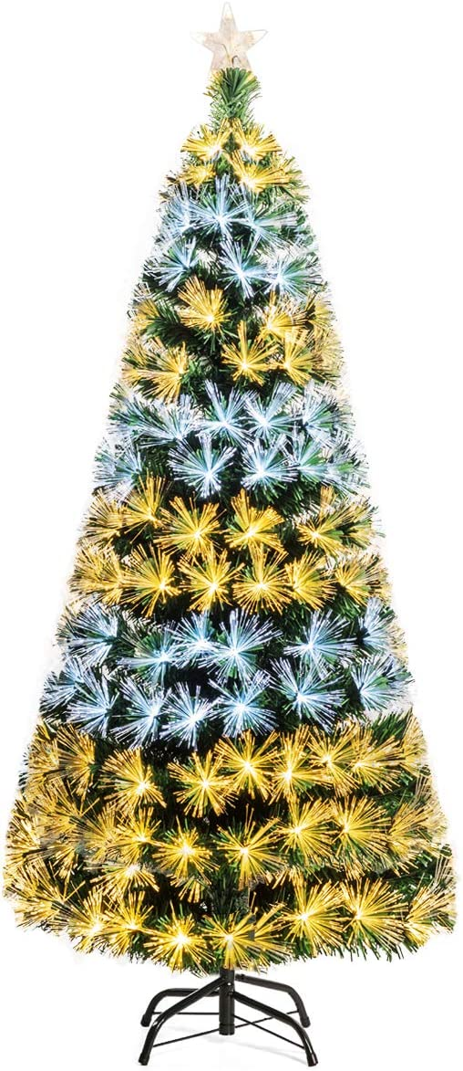Goplus 7ft Pre-lit Artificial Christmas High quality new Selling Tree Optical Fi Premium