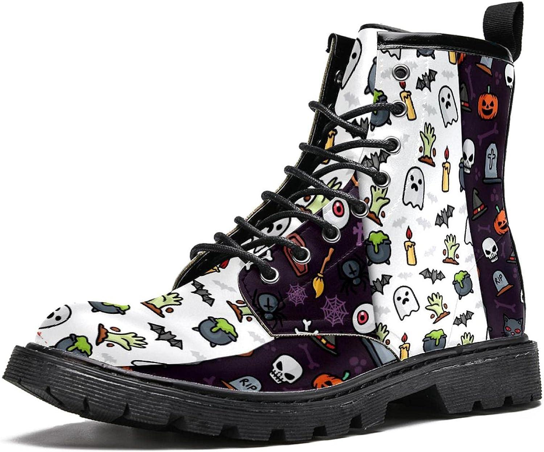 Men's Casual 16-Eye PU Cartoon Leather Choice Boot Boston Mall Skull