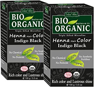 Indus Valley Bio Organic Micro fine Triple Shifted Premixed Henna Hair color with Organic Indigo for Rich Color & Lustrous Shine (Indigo Black -Twin Pack) 200 gm