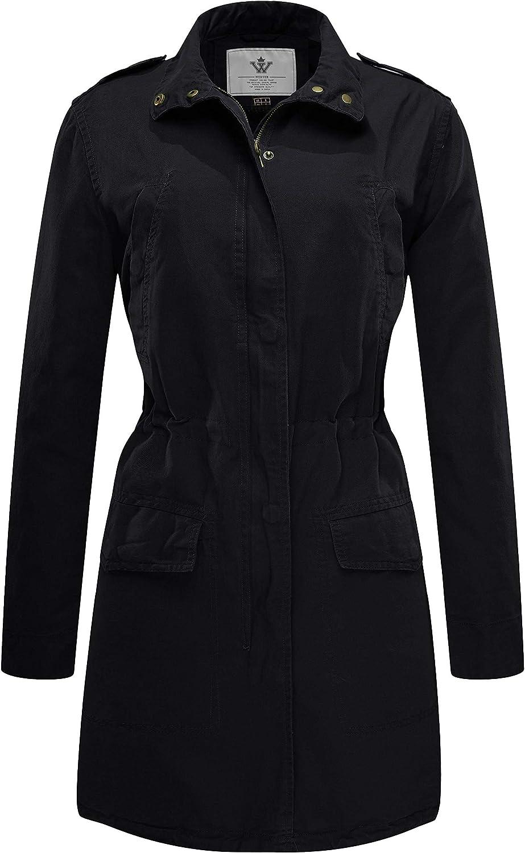 Wenven Women's Long Canvas Anorak Jacket Casual Lightweight Trench Coat