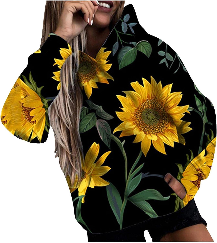 Masbird Hoodies for Women, Womens Fashion Hoodies & Sweatshirts Flower Print Hoodies Cute Black Long Sleeve Hoodies