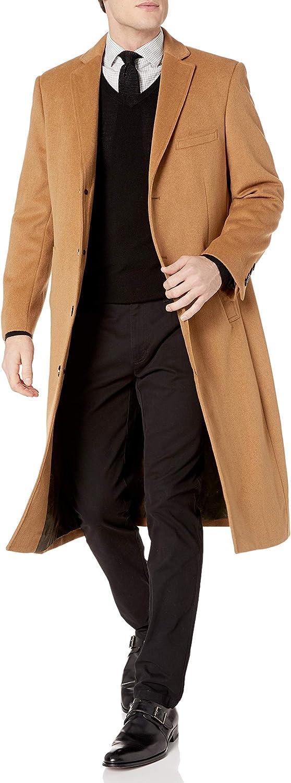 Adam Baker Men's Overcoat Single Breasted Luxury Wool/Cashmere Full Length Topcoat
