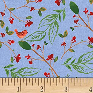 Windham Fabrics A Walk In The Woods Birds And Leaves Fabric, Blue, Fabric By The Yard