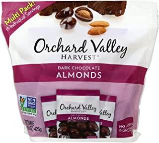 Orchard Valley Harvest Snack Packs - Dark Chocolate Almonds - 15 Ct. Multi Pack, Non-GMO Project Verified, No Artificial Ingredients, 15 ounces (15 Individual Packs)