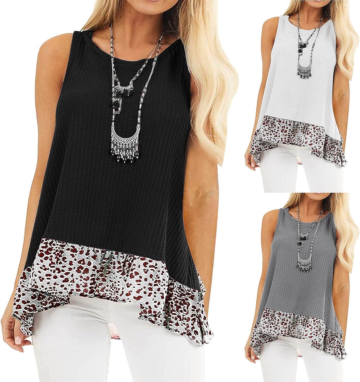 Shirt for Women Women's Fashion O-N OFFer Splicting Print National products Leopard Hem