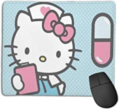 Nurse Hello Kitty Mouse Pads Pack with Non-Slip Rubber Base, Premium-Textured and Waterproof Mousepads Bulk with Stitched Edges, Mouse Pad for Computers, Laptop, Office & Home, 18x22inches, 3mm