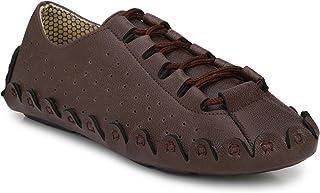 HEEDERIN Men's Brown Mesh Lace up Comfortable Loafer 8 UK