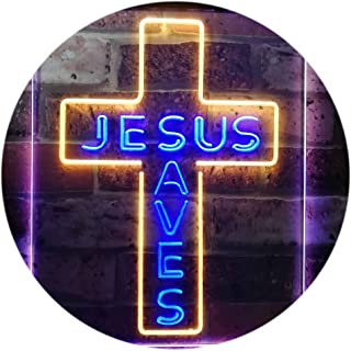 Jesus Saves Cross Wall Plaque Housewarming Gifts Dual Color LED Neon Sign Blue & Yellow 210 x 300mm st6s23-i3162-by
