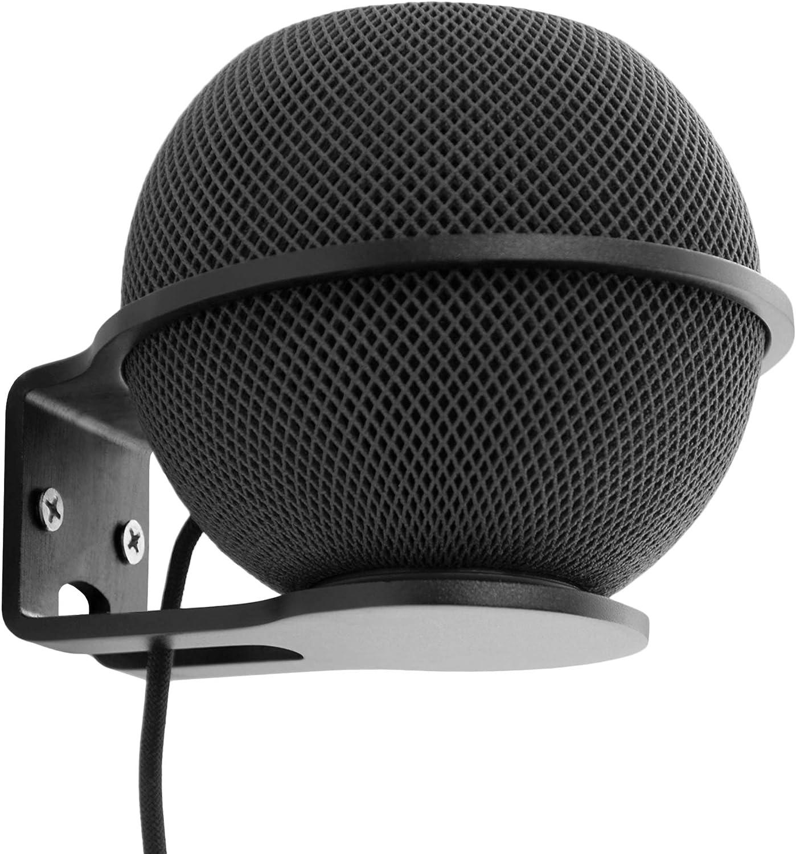 Soporte de pared compatible con Apple Homepod Mini, soporte de metal resistente para colgar en la pared, gestión de cables clara para mantener ordenado (negro)