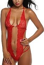 Avidlove Women Deep V Lingerie Lace Babydoll Mini Bodysuit