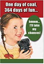 12 'One Day Of Coal Boxed Christmas' Hilarious Greeting Cards 4.63 x 6.75 inch, Merry Xmas Cards with Funny Girl Getting Coal, Holiday Stationery for Presents, Parties, Season's Greetings B1127
