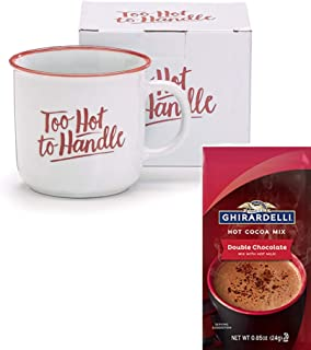 Funny Valentines Day Holiday Coffee Tea Mug with Ghirardelli Hot Chocolate Cocoa Gift Set - Too Hot to Handle