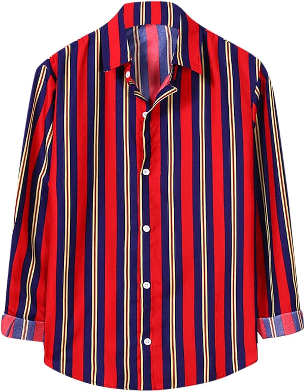 FORUU Mens Elegant Shirts 2021 Casual Long Sleeve Shirts Contrast Lapel Striped Shirt Loose Fit Tops Shirt Jackets