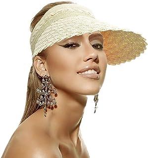 Women's Sun Visor Hat Wide Brim Roll-up Straw Golf Summer Beach Caps Outdoor