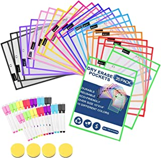 $21 » Dry Erase Pockets 20 Set Dry Erase Sleeves Oversized 10 x 14 Inches Teacher-Supplies- for-Classroom-Reusable-Dry-Erase-Pockets-Sleeves Assorted Colors WOT I