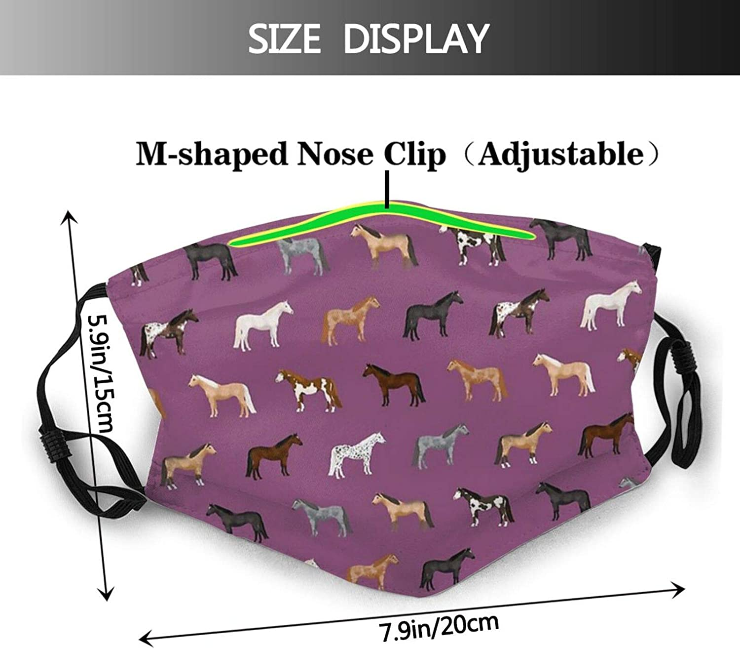 Flaming Horse Face Mask Reusable Washable Bandanas With Adjustable Earloops Fashion Scarves For Adult With 2 Pcs Filters