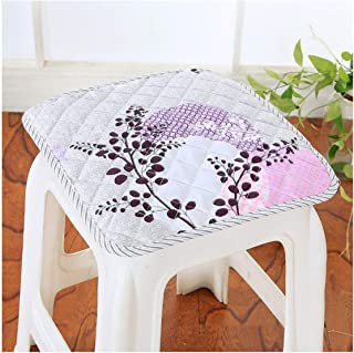 Round Square Chair Cushion Quilted Soft Pad Breathable Bind Seat Cushion Size 3030Cm Quilted Thicken Chair Cushion,Xiaofanghuaqianyuexi,About30X30Cm