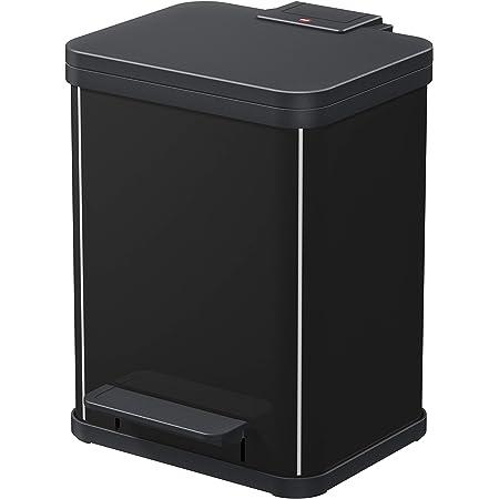 Hailo 0622-260 Poubelle à Pédale, Acier Inoxydable, Noir, 44,5 x 33 x 34,5 cm