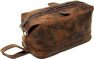Men's Buffalo Genuine Leather Toiletry Bag Waterproof Dopp Kit Shaving Bags and Grooming for Travel Groomsmen Gift Men Wom...