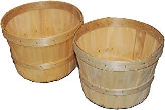 1/2 Peck Natural Wooden Baskets with 6 inch Plant Liners 2 Pack