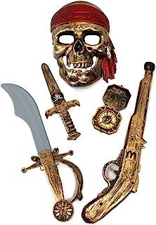 GiftExpress لوازم جانبی لباس های دزدان دریایی 5 قطعه هالووین برای کودکان و نوجوانان ، مجموعه بازی های دزدان دریایی / لباس هالووین برای پسران / دزد دریایی Paraphernalia (شمشیر دزدان دریایی ، قطب نما ، قطب نما ، ماسک ، تفنگ)